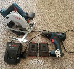BOSCH Professional GSB 18-2-LI Plus + GKS 18V-57 + Charger and 2 x Batteries