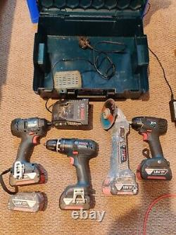 Bosch 18v Professional Grinder, Impact Driver, Drill, 5x Batteries, Charger