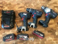 Bosch 18v Professional Hammer Drill, Impact Driver, Drill, 3x Batteries, Charger