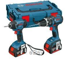 Bosch Professional 18 V-LI Combi Drill and GDR 18 V-LI Impact Driver Two 4Ah Bat