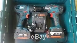 Bosch Professional Gdr18v-li Impact Driver + Gsb1800 Combi Drill Twin Kit + Bats