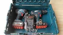 Bosch Professional Gdr18v-li Impact Driver +gsb182li Combi Drill Twin Kit + Bats