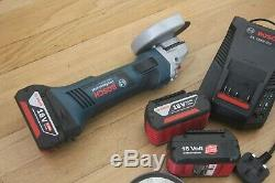Bosch professional GWS 18 V-LI Cordless 18v Grinder with 3 batteries and charger