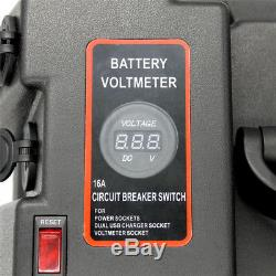 Car Truck 12V Multi-purpose Battery Box Dual USB Charger withLED Voltmeter Gauge