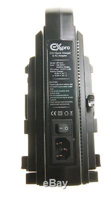 Ex-Pro BP-150W 150wh Camera V Mount Lock Li-ion Battery x2 +Dual Channel Charger