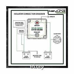 KeyLine Chargers 12V 140 Amp Dual Battery Isolator Voltage Sensitive Relay V