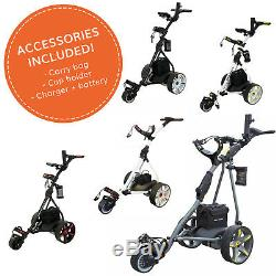Pro Rider Electric Golf Trolley with 36 Hole Battery & Charger Folding Frame