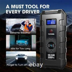 TOPDON V2000pro 12v Car Jump Starter Battery Start Booster Charger Leads