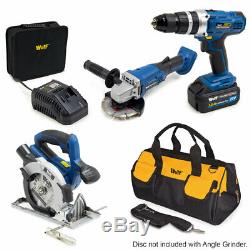 Wolf Pro Cordless 7pc Kit Grinder, Circular Saw, Drill & Battery Charger & Bag